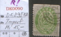 DANMARK DK 29 I YA USED Mi $45 + IMPERF ! RARE - 1864-04 (Christian IX)