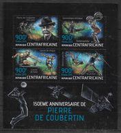 CENTRAFRIQUE Feuillet N° 2878/81  * * ( Cote 17e ) Coubertin Course Halterophilie Gymnastique Javelot Disque Perche Haie - Haltérophilie