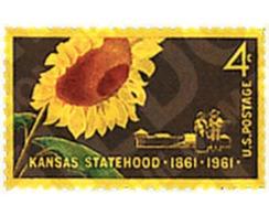 Ref. 339192 * HINGED * - UNITED STATES. 1961. CENTENARY OF KANSAS . CENTENARIO DEL ESTADO DE KANSAS - United States