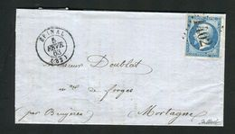 Rare Lettre D'Epinal ( Vosges 1863 ) Pour Mortagne Avec Un N° 14A - Cachet GC 1402 - 1849-1876: Période Classique