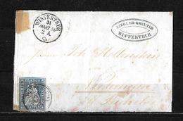 1854-1862 Helvetia (ungezähnt) → 1859 Briefhülle Winterthur (Ziegler-Greuter) Nach Niederhofen-Bichelsee ►SBK-23B3.IV/V◄ - 1854-1862 Helvetia (Non-dentelés)