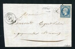 Rare Lettre D'Isches Par Lamarche ( Vosges 1859 ) Avec Un N° 14A - Cachet PC 1623 - 1849-1876: Période Classique