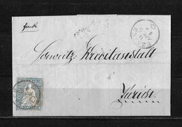 1854-1862 Helvetia (ungezähnt) → 1859 Briefhülle Uznach Nach Zürich (Kreditanstalt)    ►SBK-23B3.IV/V Bahnpost◄ - 1854-1862 Helvetia (Non-dentelés)