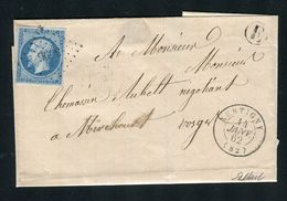 Belle Lettre De Xertigny ( Vosges 1862 ) Avec Un N° 14B - Cachet PC 3696 - 1849-1876: Période Classique