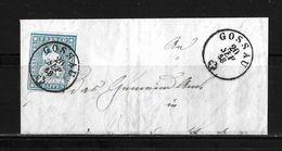 1854-1862 Helvetia (ungezähnt) → 1858 Brieffragment GOSSAU  ►SBK-23B3.IV/V / Klarer Stempel◄ - 1854-1862 Helvetia (Non-dentelés)