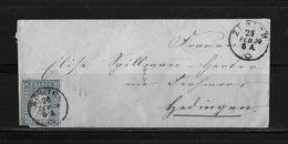 1854-1862 Helvetia (ungezähnt) → 1859 Briefumschlag Zürich Nach Hedingen (Fingerhutstempel)     ►SBK-23B3.IV/V◄ - 1854-1862 Helvetia (Non-dentelés)