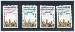 Kampuchéa. Poste Aérienne. Avion Au Dessus De Temple - Kampuchea