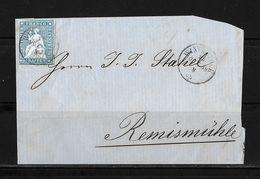 1854-1862 Helvetia (ungezähnt) → 1858 Brieffragment WINTERTHUR Nach Remismühle     ►SBK-23B3.IV/V◄ - 1854-1862 Helvetia (Non-dentelés)