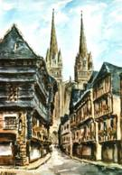 CPSM - QUIMPER - Les VIEUX QUARTIERS Et La CATHEDRALE - ILLUSTRATION J.SUAIN … - Edition Colorima - Quimper