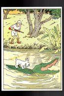 TINTIN. Carton (carte Postale?) Signé Hergé. - Comics