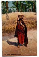 PETITE NEGRESSE PORTANT PANIER SUR TETE CARTE COULEUR ANIMEE - Marokko