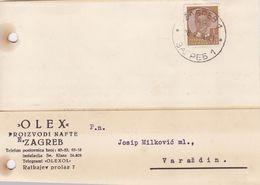ZAGREB, CROATIA  --  POSTAL CARD. STATIONERY, DOPISNICA   -- ,,  OLEX ,,  PROIZVODI NAFTE  --  1940 - Kroatien