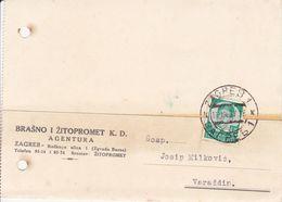 ZAGREB, CROATIA  --  POSTAL CARD. STATIONERY, DOPISNICA   --  BRASNO I ZITOPROMET  K. D.  --  1937 - Kroatien