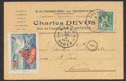 Pellens - 5ctm Sur Carte Imprimée (Ostende) + Vignette (Expositions Internationale Des Sports 1914) > Namur - Erinnofilie