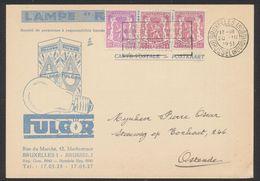 "Imprimé ""Lampe Fulgor"" (Bruxelles, 1951) Affranchi à 1F, Voyagé Vers Ostende + Vignette PUB Verso (Fulgor). TB - Erinofilia"