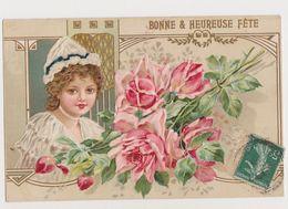 Carte Fantaisie Gaufrée / Jolie Fillette Et Bouquet De Roses.  Bonne &heureuse Fête . - Abbildungen