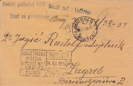 LUDBREG CROATIA  --  COVER, LETTRE, BRIEF  --   SRESKI SUD LUDBREG  --     1938 - Kroatien