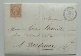 LETTRE 1861 - Obl. 4107 Cad T22 - YCHOUX Pour BORDEAUX - 40c - Marcofilie (Brieven)
