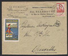 Pellens - 10ctm Sur Lettre à En-tête (Imprimerie, Lithographie) Voyagée De Ostende (1913) > Bruxelles + Vignette Ostende - Erinnofilie