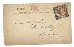 Great Britain Victoria Cover  1/2d  Prepaid Postcard Bolton 44 Squared Circle    Search Also Postcards - 1840-1901 (Victoria)
