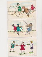 4  Jolies Cartes Fantaisie Signées Zane / Jeux D'enfants ( Cerceaux , Ballon....) - Gruppen Von Kindern Und Familien