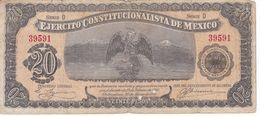 BILLETE DE MEXICO DE 20 PESOS AÑO 1914 EJERCITO CONSTITUCIONALISTA DE MEXICO (BANKNOTE) - Messico
