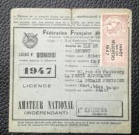 LICENCE AMATEUR NATIONAL - 1947 IMPOT Sur Les VELOCIPEDES - FISCAL - Fiscale Zegels