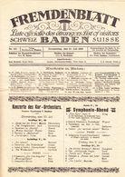 1919 Schweiz. Fremdenblatt Mit Offizieller Besucherliste Der Kurgäste In Baden (Aargau). 8 Seitig - Fashion
