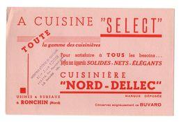 """Buvard A Cuisine """"Select"""" Toute La Gamme Des Cuisinières """"Nord-Dellec"""" à Ronchin - Format : 13.5x21 Cm - Vloeipapier"""