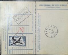 AVIS DE VIREMENT 1960 - Virement Accelere 435 000 Frs - PARIS R. P. VIRA TIMBRE POSTE AERIENNE 500 F - BANQUE DE FRANCE - Frankrijk