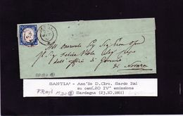 CG35 - Lettera Da Santià Per Novara 23/10/1861 - Ann. Doppio Cerchio Sardo/ital. Su Cent. 20 - F.to Raybaudi - Sardinia