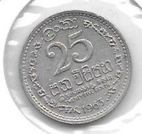 *ceylon 25 Cents 1963  Km 131   Unc - Sri Lanka
