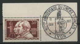 N° 1033 ** (MNH) Cote 7.5 €. Frères Lumière. Coin De Feuille Avec Cachet Illustré Du 60ème Anniversaire Du Cinéma FR. TB - France