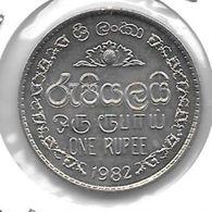 * Sri Lanka  1 Rupee  1982 Km 136.2 - Sri Lanka
