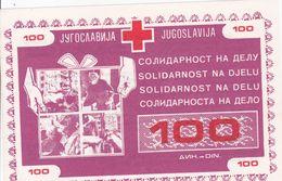 CROATIA,  JUGOSLAVIA  --  RED CROSS, CROIX ROUGE  --  SOLIDARNOST NA DJELU  --  100  DINARA - Ohne Zuordnung