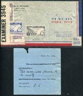 VENEZUELA - PA N° 50 + 54 & 56 / LR AVION DE CARACAS POUR USA EN 1942 AVEC CENSURE & FORMULAIRE D'EXPLICATION - TB - Venezuela