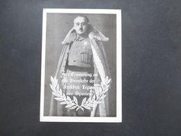 3.Reich Propagandakarte Franco 1939 Zur Erinnerung An Die Heimkehr Der Deutschen Legion Aus Spanien. Legion Condor. RRR - Cartas