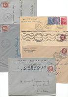 Lot De 6 Env. Cachet à Date 1943- Corrèze - Marcophilie (Lettres)