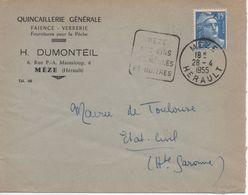 Enveloppe - Cachet Daguin Flamme MEZE SES VINS SES MOULES ET HUÎTRES - 28/4/1955 - Mechanische Stempels (reclame)