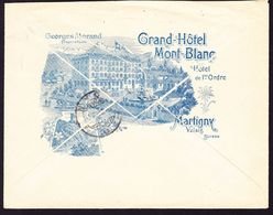 1909 5 Rp Tell Im Paar Oben Rechts Zahndefekt Auf Hotel Reklame Brief: Grand-Hotel Mont-Blanc In Martigny Nach Nyon. - Switzerland