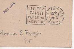 Bandeau - Cachet Daguin Flamme PAPEETE - VISITEZ TAHITI PERLE DU PACIFIQUE - 30/9/32 - Marcophilie (Lettres)