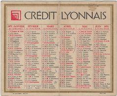 Calendrier  Petit Format Credit Lyonnais 1971 - Kalenders