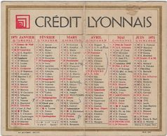 Calendrier  Petit Format Credit Lyonnais 1971 - Calendriers