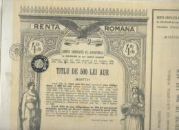 ROMANIE * ROMANIA * RENTA UNIFICATA 500 LEI * ROUMENIE * ROEMENIE * 1929 - Hist. Wertpapiere - Nonvaleurs