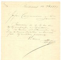 LETTRE MANUSCRIT BORDEAUX 12 OCTOBRE 1889 - SIGNATURE HENRY FRUGES - HOTEL FRUGES - SUCRE De CANNE - JARNAC - Manuscritos