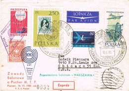 36852. Carta Aerea Expres LESZNO (Polska) Polonioa 1960 To Chicago. Globus, Ballon Monté - 1944-.... Republic
