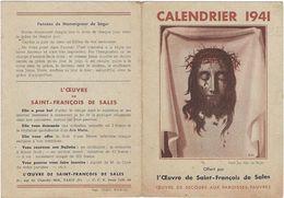 Calendrier  Petit Format 1941  L'oeuvre  De Saint Francois De Sales 75 Paris 75006 - Calendriers