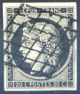 France N°3 -noir Sur Blanc - Oblitéré - Aminci - (F1651) - 1849-1850 Ceres