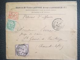 LETTRE 1901 - ARTICLES D'ARGENT - LOURDES Pour ST GENIS DE SAINTONGE - Marcofilie (Brieven)