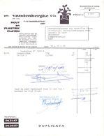 Factuur Facture - Hout En Plastiekplaten Gebr Vandenberghe & Cie - 1968 - Belgien